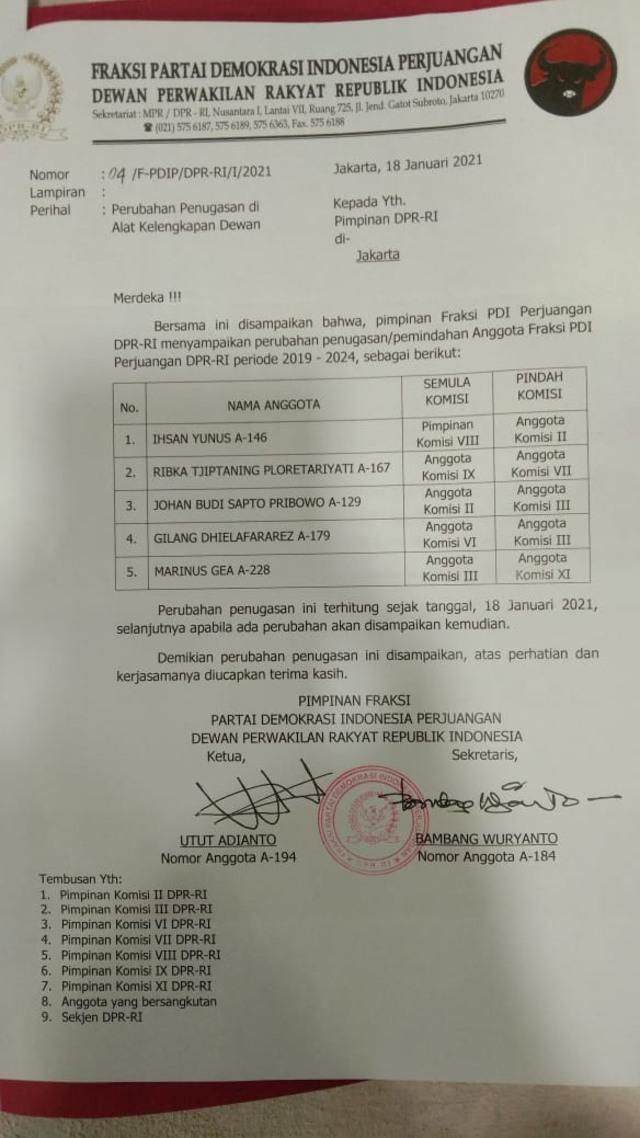 PDIP Rotasi Anggota DPR: Ribka, Johan Budi, Ihsan Yunus Dipindah Komisi (1)