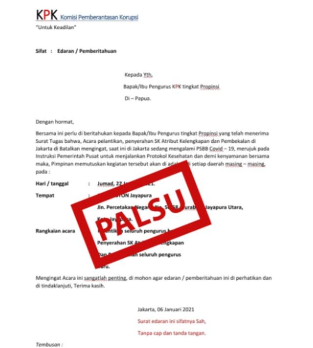 Waspada! Ada Modus Penipuan Berkedok Surat Tugas dan Surat Edaran KPK di Papua (173291)