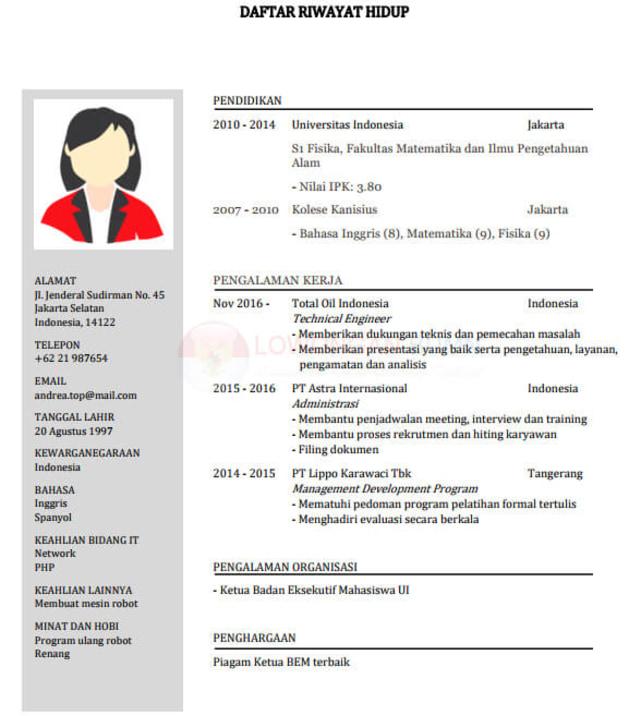 Contoh Resume Lamaran Kerja untuk yang Baru Lulus (32409)