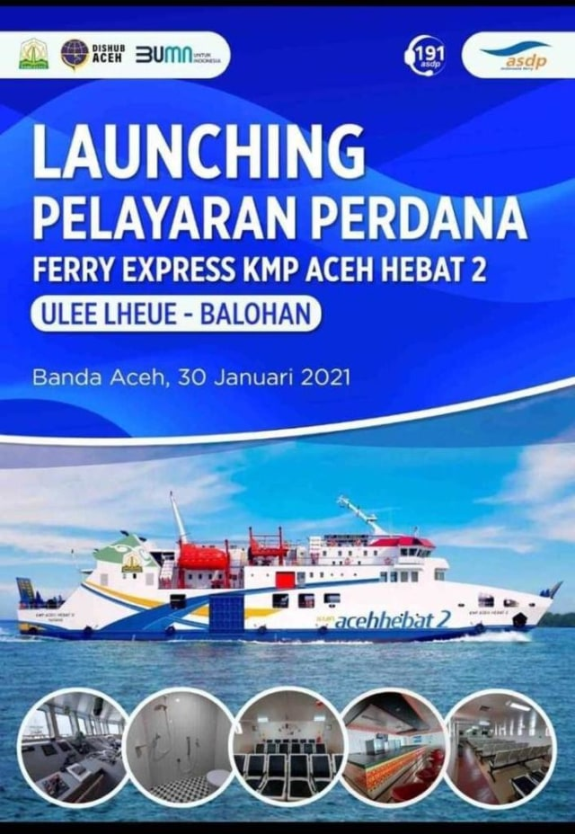 Kapal Kmp Aceh Hebat 2 Akan Berlayar Perdana Ke Sabang Besok Kumparan Com