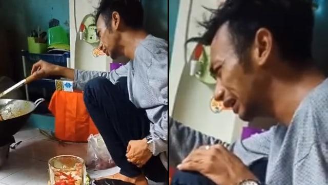 Pria Memasak Sambil Menangis Tersedu-sedu, Pesanan 60 Nasi Kotak Dibatalkan