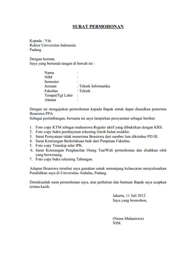 Contoh Surat Permohonan Dan Fungsi Tujuan Serta Jenis Surat Permohonan Kumparan Com