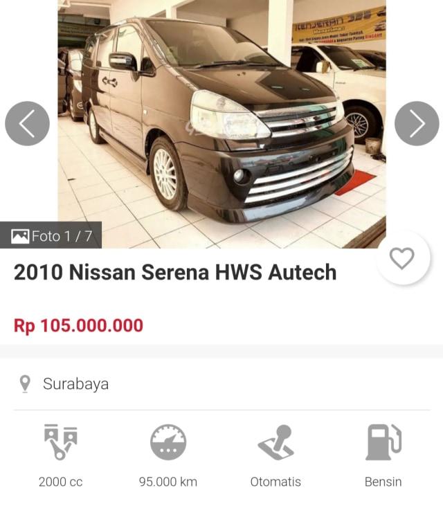 MPV Premium Nissan Serena C24 Bekas Cuma Rp 70 Jutaan  (22981)