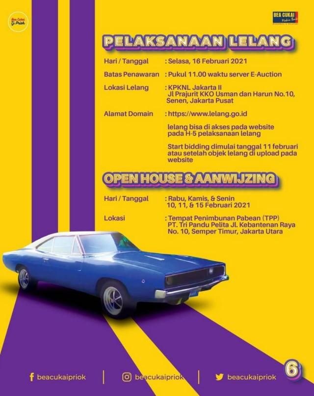 Bea Cukai Tanjung Priok Lelang 2 Mobil Klasik, Ada Dodge Charger! (442580)