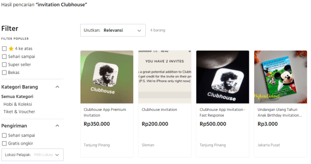 Fenomena Undangan Clubhouse Dijual Rp 500 Ribu di E-commerce (106258)