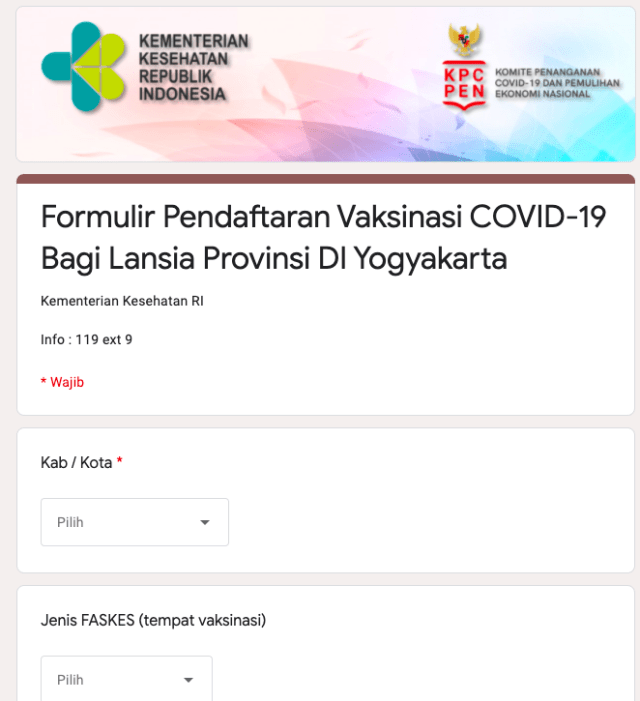 Beredar Formulir Pendaftaran Vaksinasi Lansia Area Yogya, Asli atau Palsu? (96413)