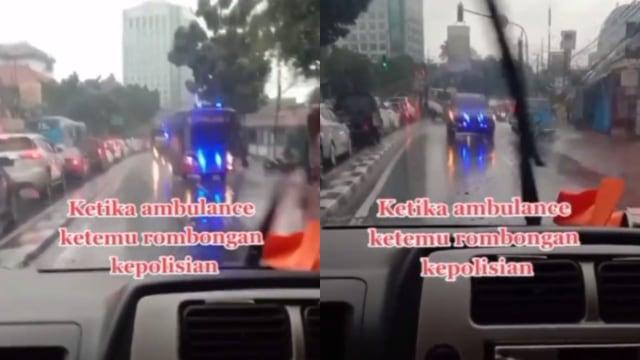 Mobil Ini Lawan Arah dan Bikin Iring-iringan Polisi Menepi di Jalan Raya (85102)