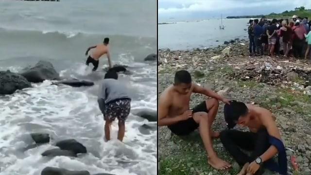 Heroik! Detik-detik Pemuda Terjang Ombak demi Selamatkan Orang Tenggelam di Laut (125547)