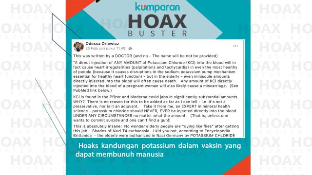Hoaxbuster: Potasium dalam Vaksin COVID-19 Sebabkan Keguguran hingga Kematian (57643)