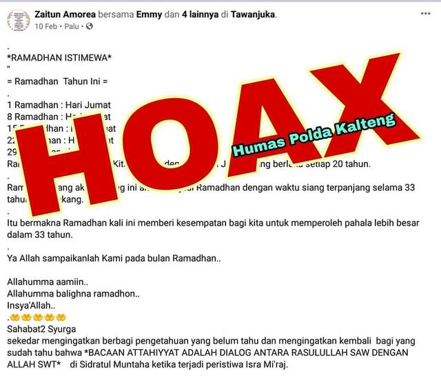 Hoaxbuster: Ramadhan Tahun Ini Jatuh Hari Jumat dengan Waktu Siang Terpanjang (67009)