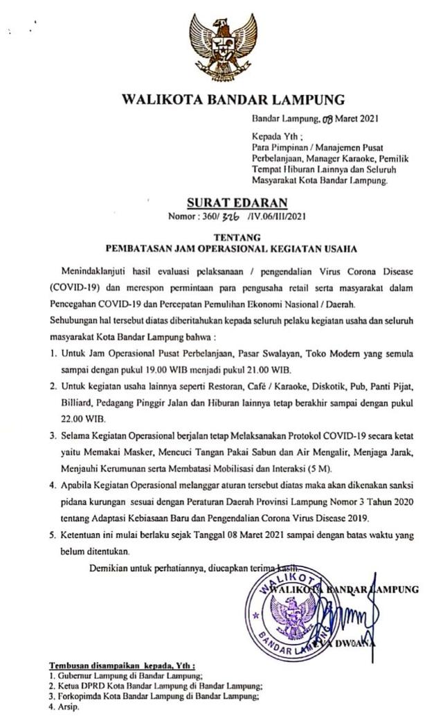 Pemkot Bandar Lampung Longgarkan Jam Operasional Tempat Usaha dan Hiburan   (581451)