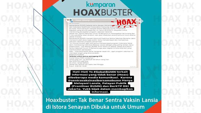Hoaxbuster: Kabar Soal Sentra Vaksinasi COVID-19 di Istora GBK Dibuka untuk Umum (145799)