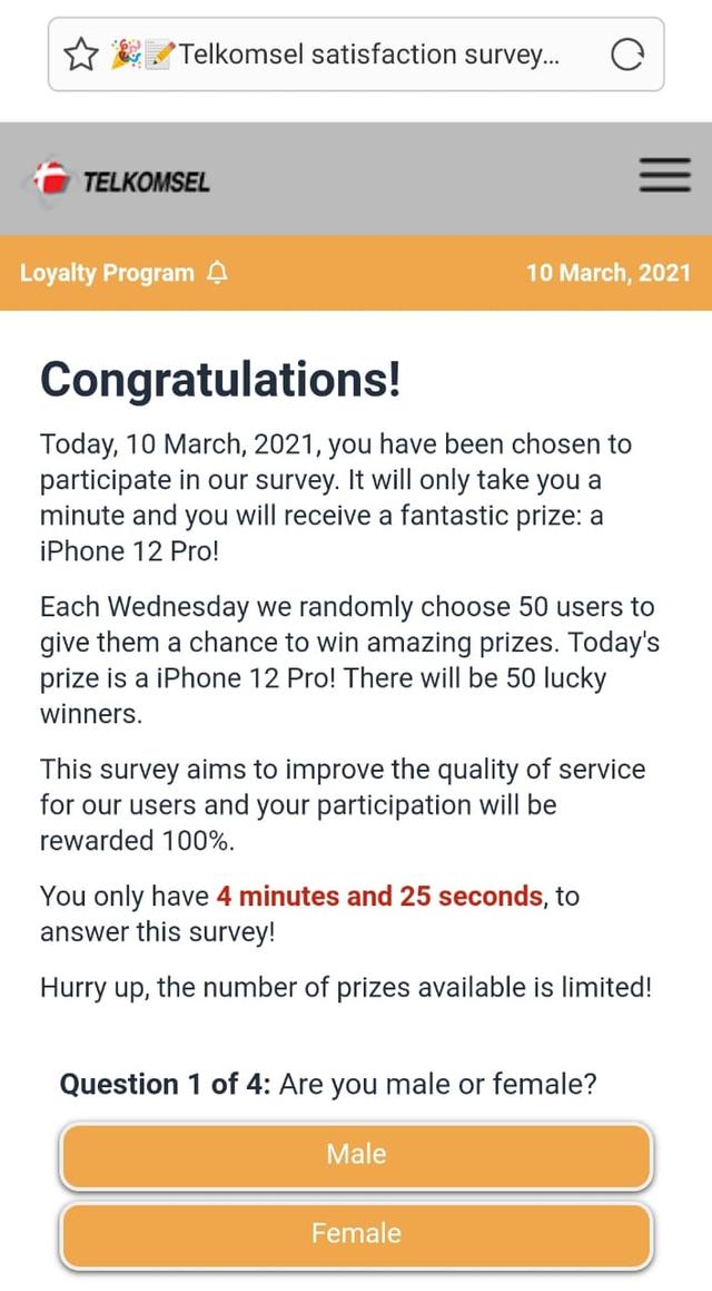 Waspada Link Survei Telkomsel Palsu Berhadiah iPhone 12 Pro, Ini Faktanya (362420)