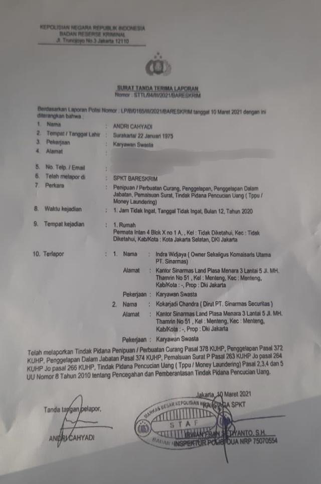 Respons Sinarmas soal Komut dan Dirut Dilaporkan ke Bareskrim Polri (50666)
