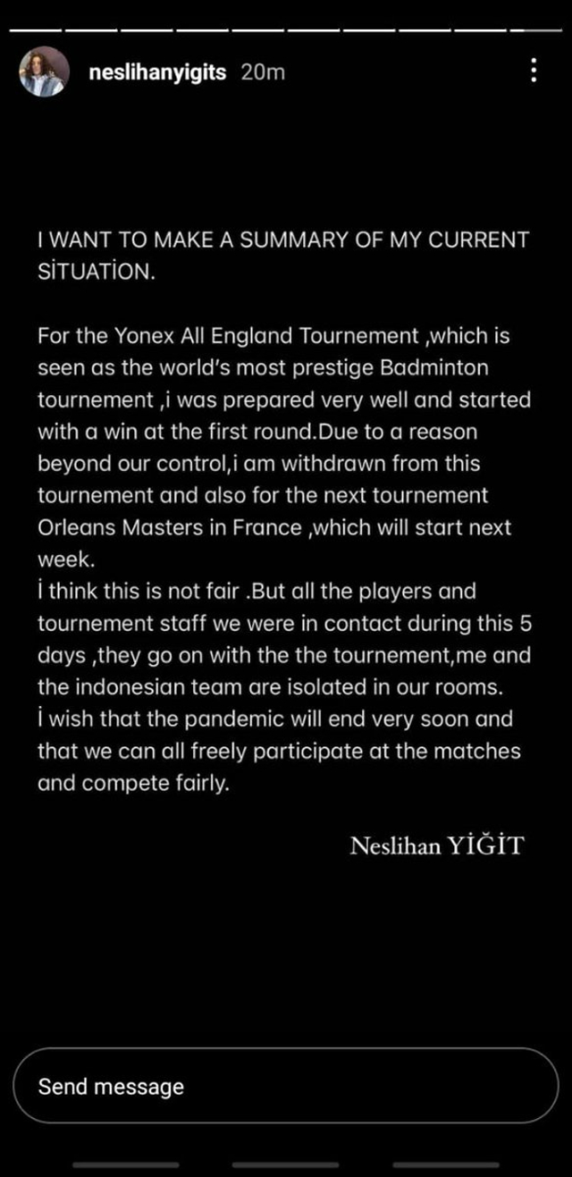 Atlet Turki Neslihan Yigit Tuntut Keadilan Usai Diusir dari All England (2)