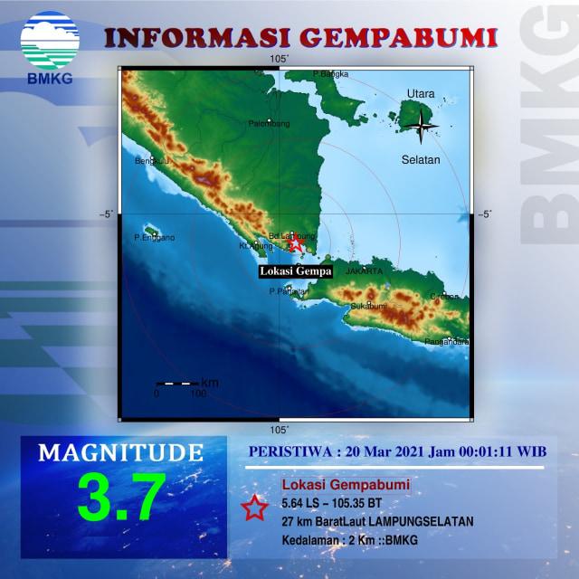 Gempa 3 7 Sr Di Lampung Selatan Getaran Hingga Bandar Lampung Kumparan Com
