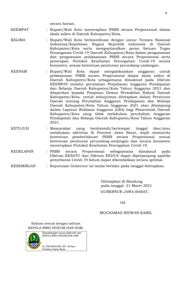 Ridwan Kamil Perpanjang PSBB Proporsional se-Jabar hingga 5 April (3254)