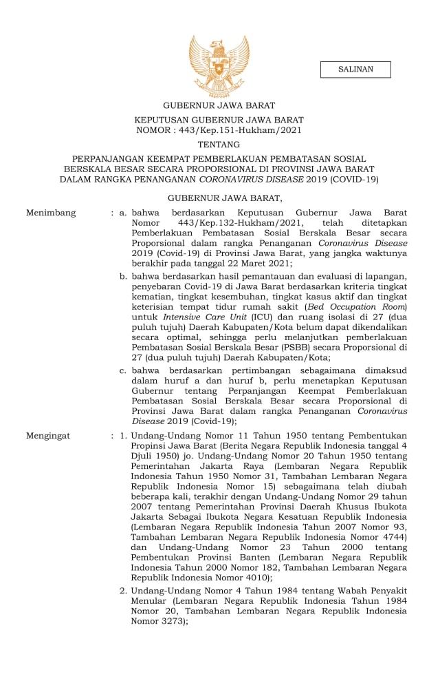 Ridwan Kamil Perpanjang PSBB Proporsional se-Jabar hingga 5 April (3251)