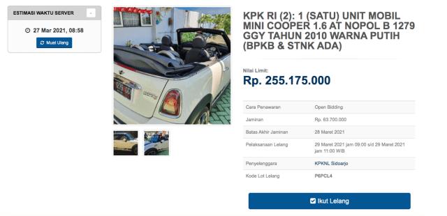 KPK Lelang 3 Mobil Mewah, Ada MINI Cooper hingga Hummer H2! (175775)