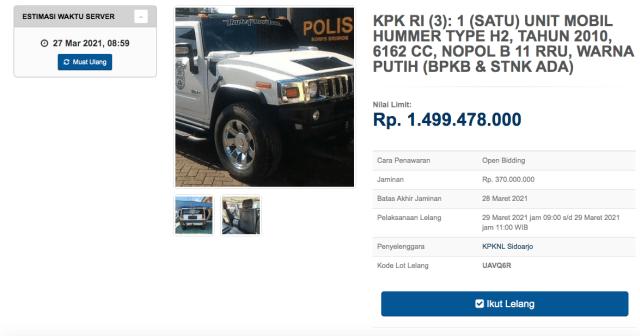 KPK Lelang 3 Mobil Mewah, Ada MINI Cooper hingga Hummer H2! (175772)
