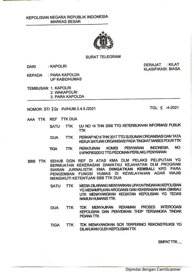 Aturan Larangan Media Polri Arogan Diteken Kadiv Humas, Ditembuskan ke Kapolri (128827)