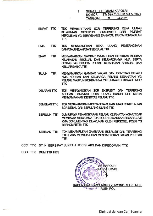 Aturan Larangan Media Polri Arogan Diteken Kadiv Humas, Ditembuskan ke Kapolri (128828)