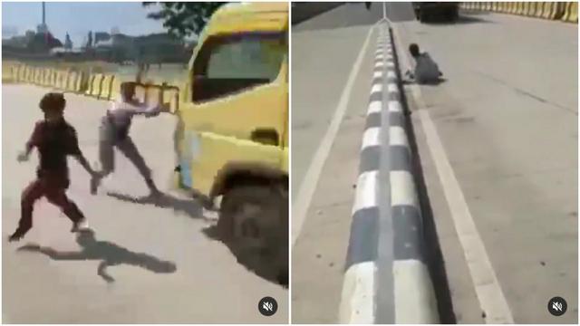 Nekat Adang Truk di Tengah Jalan, Remaja Ini Nyaris Tertabrak (11219)