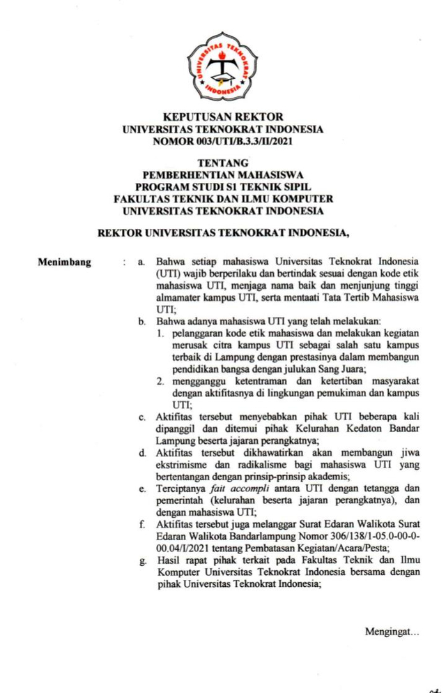 Viral 9 Mahasiswa Universitas Teknokrat Indonesia Kena Sanksi Skorsing hingga DO (805197)