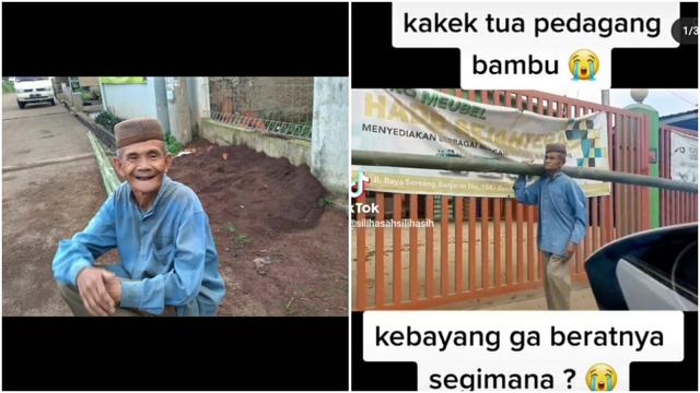 Usia Sudah Sepuh, Kakek Ini Tetap Semangat Keliling Pikul Bambu Cari Pembeli (235964)
