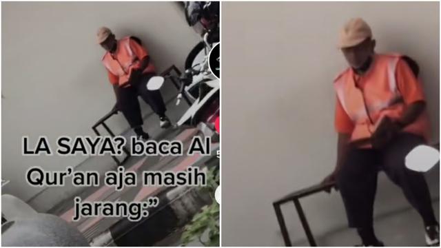 Bikin Haru, Tukang Parkir Ini Terekam Kamera Baca Al-Quran di Pinggir Jalan (455786)