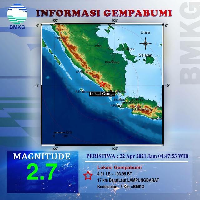 Gempa Getarkan Lampung 2 Kali Pagi Ini, BMKG: Tetap Tenang (624961)