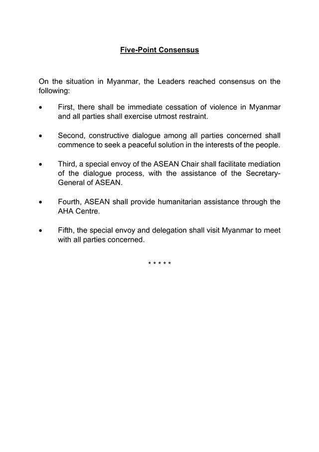 Isi 5 Konsensus Pemimpin ASEAN soal Penuntasan Krisis Myanmar  (252442)