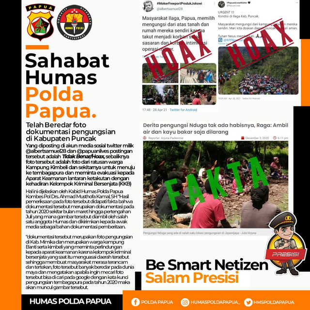 Polda Papua Pastikan Foto Pengungsi Ilaga Puncak di Medsos adalah Hoaks (277026)