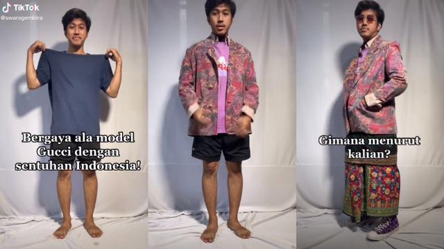 Viral Pria Tirukan Model Gucci Pakai Kain Tradisional Indonesia (45048)