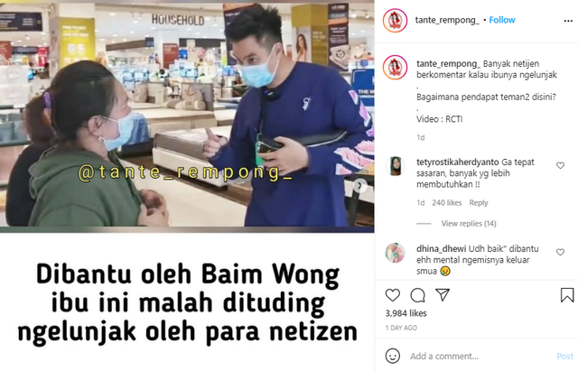 Viral Ibu-Ibu Dibantu Baim Wong Malah Ngelunjak, Netizen: Gak Tau Malu Banget (388144)