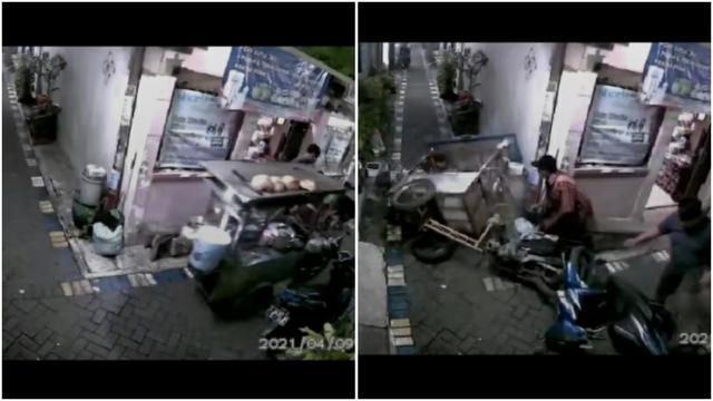 Nyesek, Gerobak Bakso Jatuh Berantakan karena Tersangkut Spion Motor (306267)