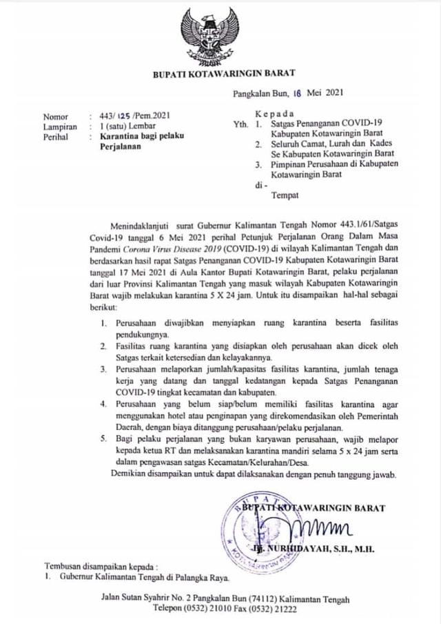 Pendatang Masuk Kotawaringin Barat Wajib Karantina 5 Hari (407711)