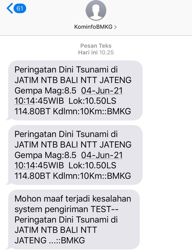 Heboh SMS Ngaco Peringatan Tsunami BMKG di Denpasar, Bali (8936)