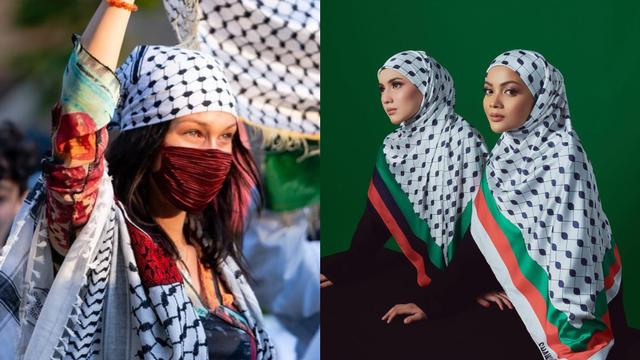 Koleksi Hijab Model Keffiyeh, Terinspirasi Bella Hadid saat Aksi Bela Palestina (253301)