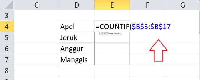 Rumus Excel Menghitung Jumlah Data yang Sama (52624)