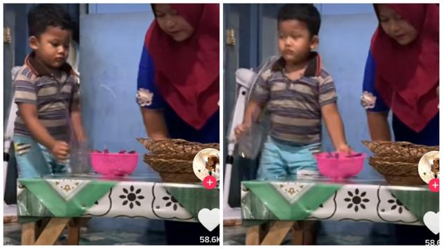 Viral Momen Bocah Laki-Laki Bantu Ibunya Jualan, Bikin Salut (202772)