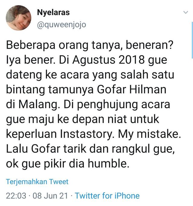Heboh Seorang Wanita Mengaku Pernah Alami Pelecehan Seksual oleh Gofar Hilman (291513)