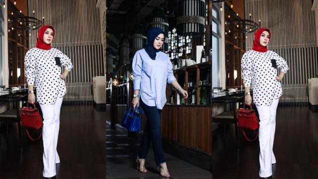 Inspirasi 5 Gaya OOTD Hijab ala Syahrini, Kasual dengan Celana dan Kemeja (1949)