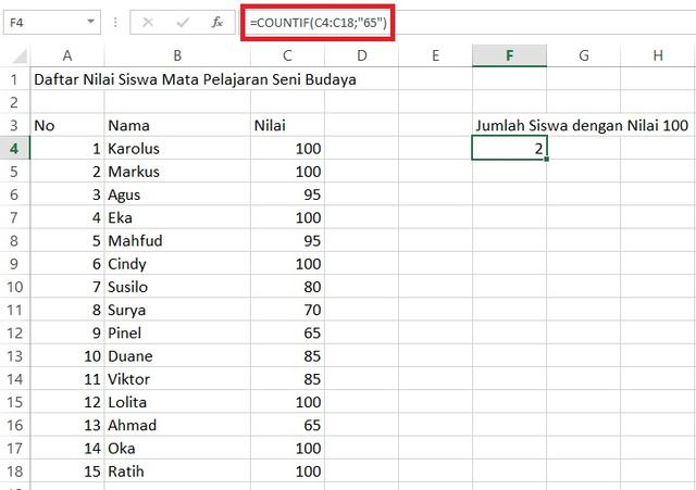 Rumus Excel untuk Mengetahui Data yang Sama (180360)