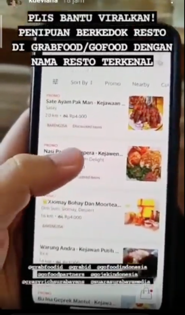 Awas! Penipuan Berkedok Restoran Terkenal pada Aplikasi Ojol Marak di Surabaya  (41556)