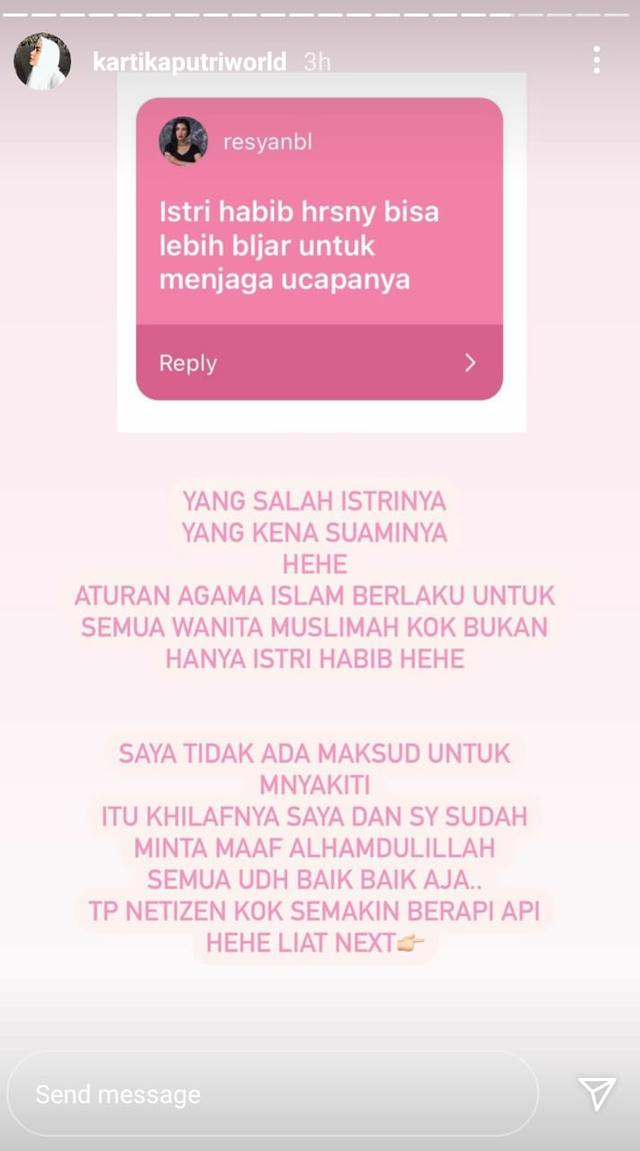 Diminta untuk Jaga Ucapan sebagai Istri Habib, Ini Kata Kartika Putri (767165)
