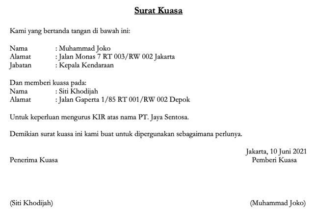 Contoh Surat Kuasa Pengurusan KIR Mobil yang Lengkap (29184)