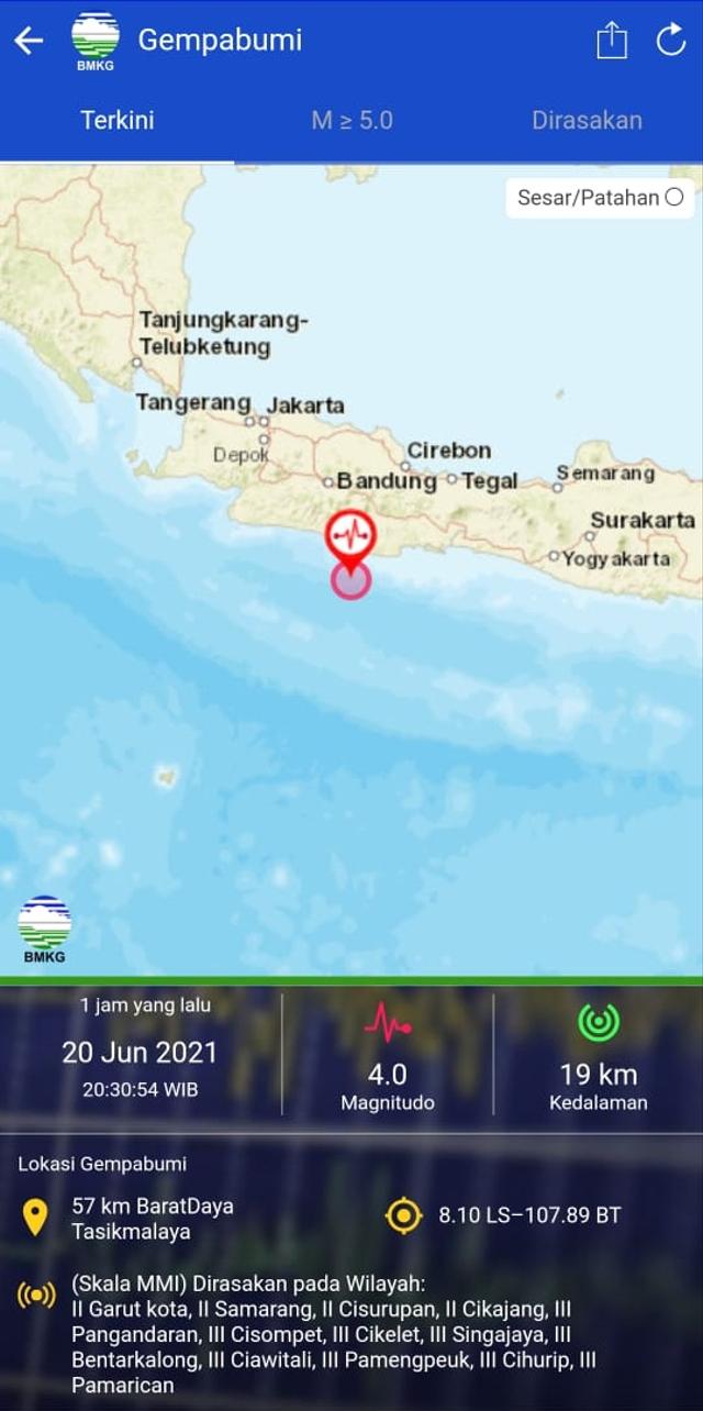 Gempa 4 Magnitudo Getarkan Tasikmalaya, Terasa hingga Pangandaran (364994)