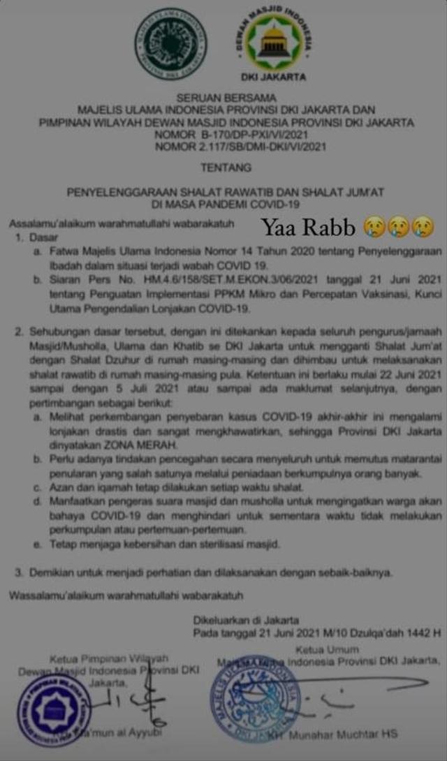 Beredar Surat Minta Masjid Tak Gelar Salat Jumat, DMI Jakarta Beri Penjelasan (14882)