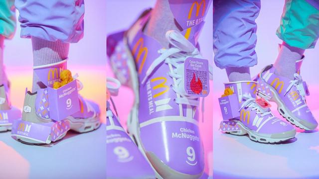 Tampilan Sepatu Sneakers yang Terbuat dari Bungkus BTS Meal (78400)